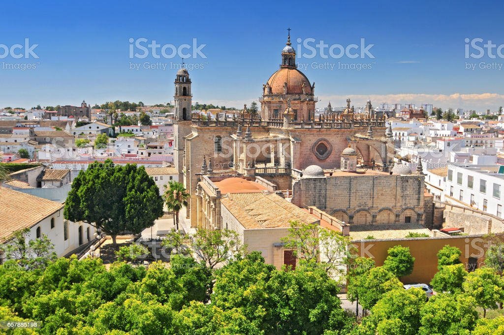 The Cathedral in Jerez de la Frontera, Cadiz. stock photo