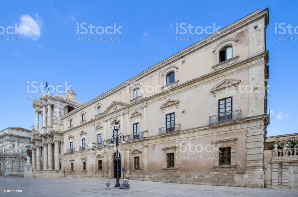The Cathedral (Duomo) in Syracuse, Sicily, Italy stock photo