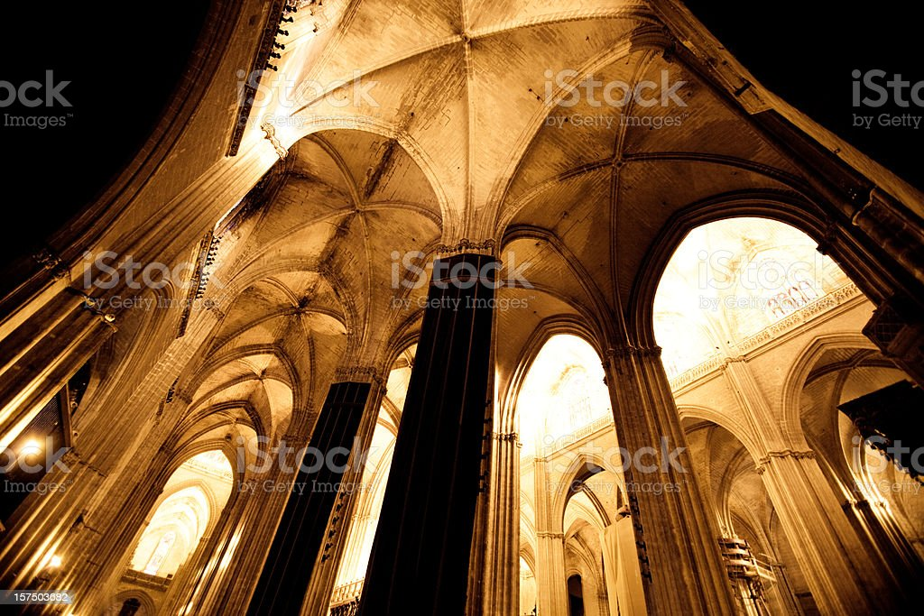 The Cathedral Interior, Sevilla Spain royalty-free stock photo