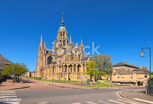 The cathedral Notre-Dame de Bayeux. Antique Norman-Romanesque cathedral is located in the  Bayeux, Calvados department of Normandy, France.