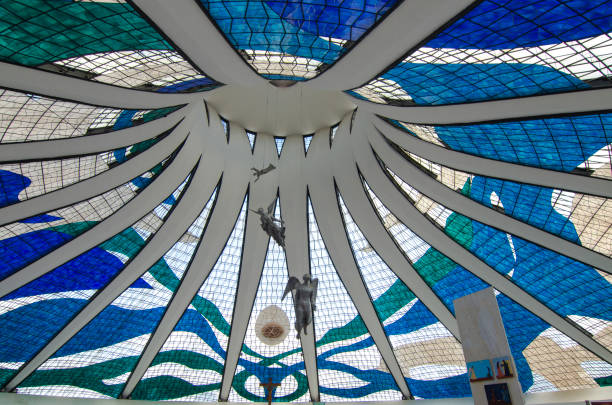 The Cathedral of Brasília Ceiling stock photo