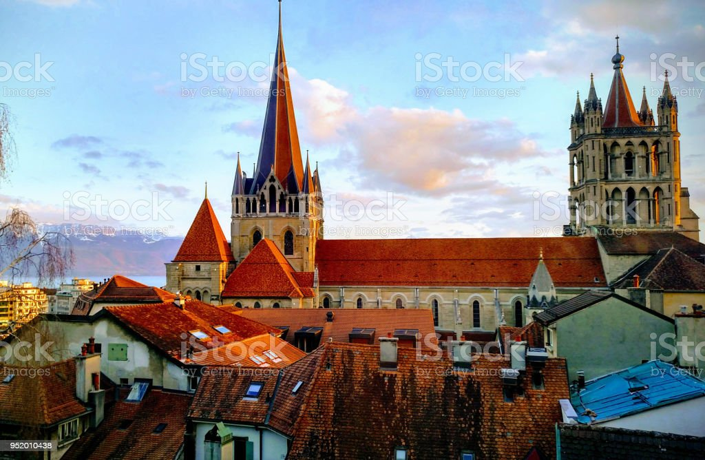 The cathedral of Lausanne Switzerland stock photo