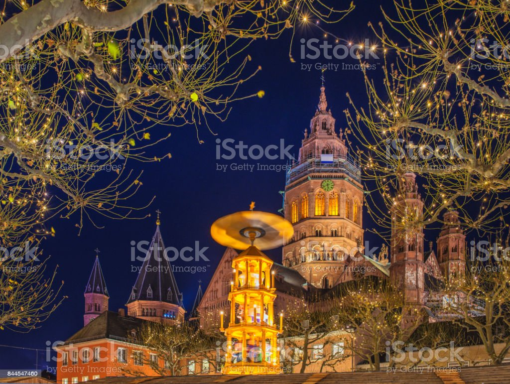 The Cathedral of Mainz during Christmas season stock photo