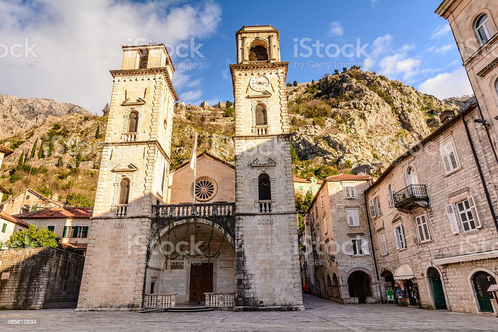 The Cathedral of Saint Tryphon in Kotor, Montenegro stock photo