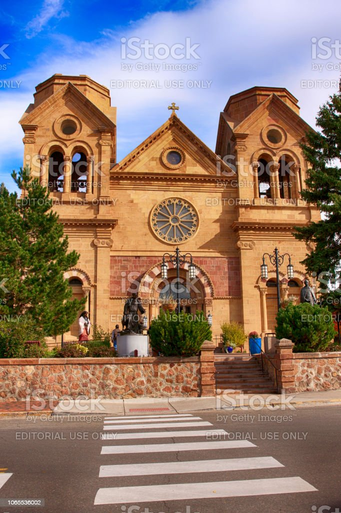 The Cathedral of St Francis of Assisi in downtown Santa Fe, New Mexico, USA stock photo