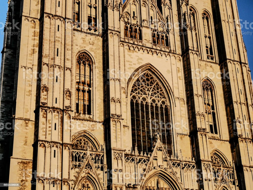 The Cathedral of St. Michael and St. Gudula, Brussels stock photo