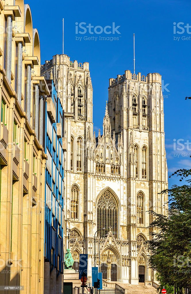 The Cathedral of St. Michael and St. Gudula in Brussels stock photo