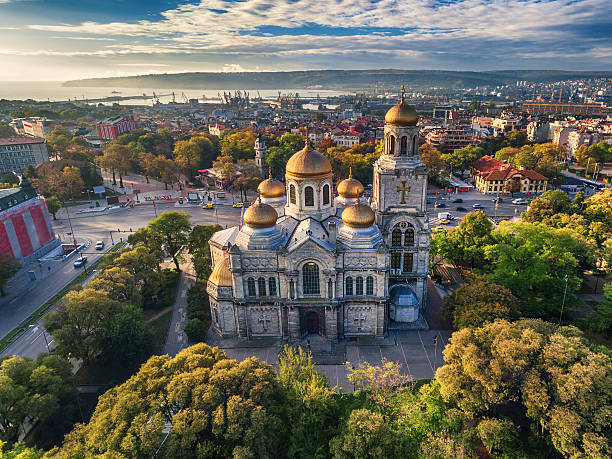 The Cathedral of the Assumption in Varna, Aerial view Aerial view of The Cathedral of the Assumption in Varna bulgaria stock pictures, royalty-free photos & images