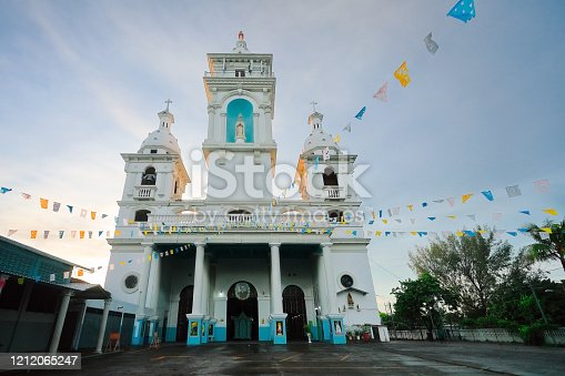 The Cathedral of Nuestra Señora de Los Pobres in Zacatecoluca located in La Paz, El Salvador early in the morning before the first mass service.