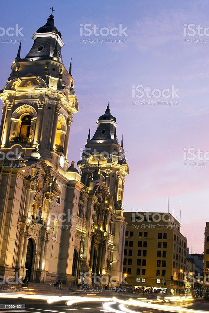 The Cathedral on Plaza de Armas Mayor in Lima, Peru stock photo