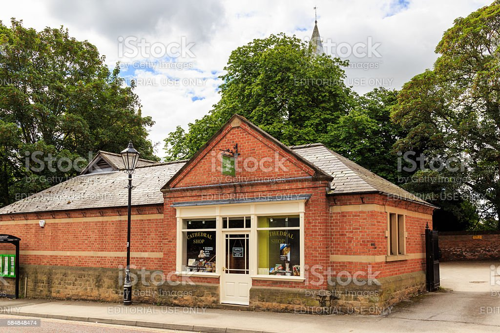 The Cathedral Shop, and Southwell Minster spire stock photo