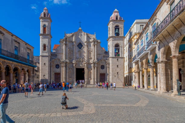 The Cathedral Square - Havana stock photo