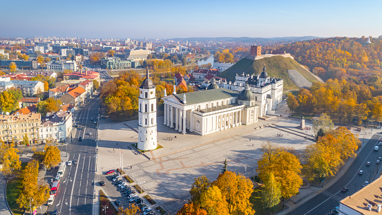 The Cathedral Square, main square of the Vilnius Old Town, a key location in city's public life, situated as it is at the crossing of the city's main streets, Vilnius, Lithuania