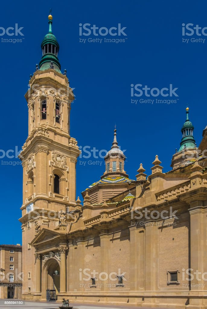 The Cathedral-Basilica of Our Lady of the Pillar, Zaragoza (Saragossa) the capital city of the Zaragoza province and of the autonomous community of Aragon, Spain. It lies by the Ebro river and its tributaries, the Huerva and the Gállego, roughly in the ce stock photo
