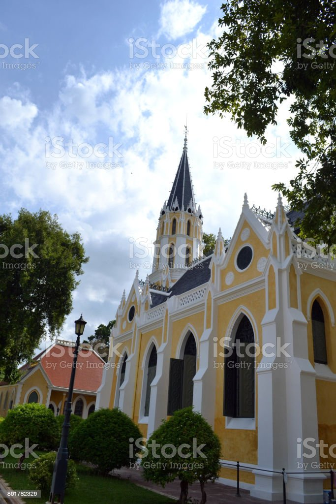 The Cathedral-like temple called 'Wat Niwet' in Bang Pa-In, Thailand stock photo