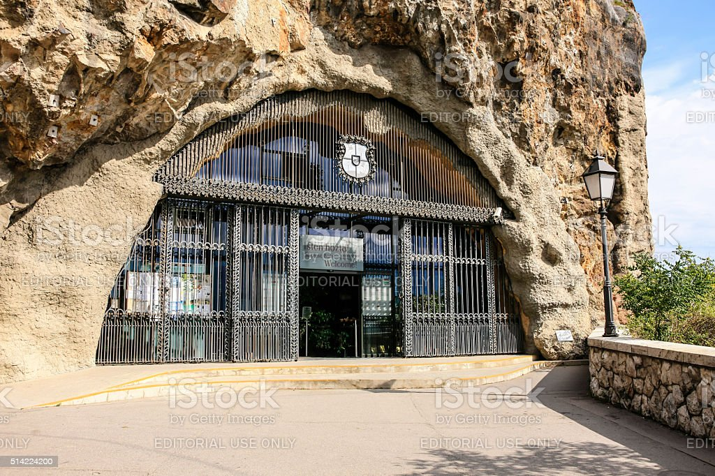 The cave church in Gellert Hill Budapest, Hungary stock photo