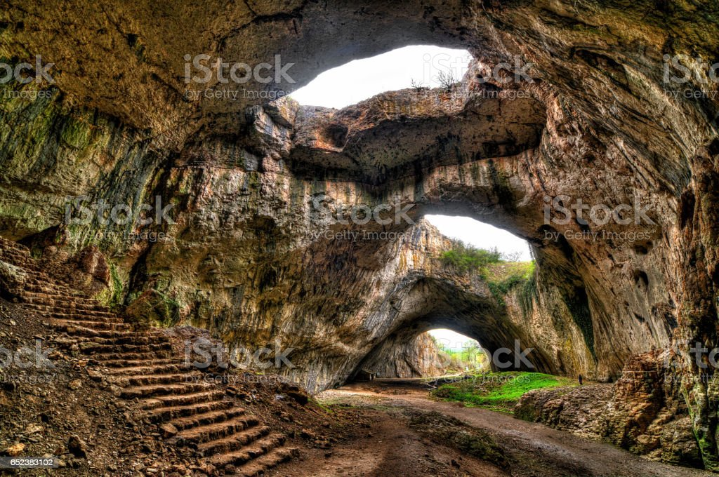 The cave. Magnificent view of the Devetaki cave, Bulgaria stock photo