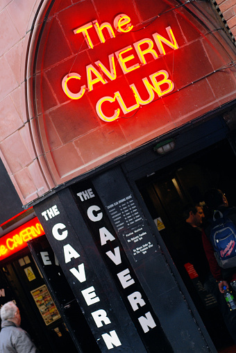 Liverpool, England - February 26, 2011: The Cavern club in Liverpool Mathew Street. The Cavern Club is a rock and roll club in Liverpool, England. Opened on Wednesday 16 January 1957, the club is where The Beatles had their first performance on 9 February 1961.