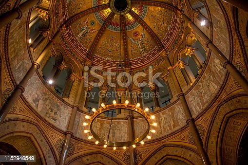 The ceiling artwork in the James A. Garfield memorial in Lake View Cemetery in Cleveland, Ohio