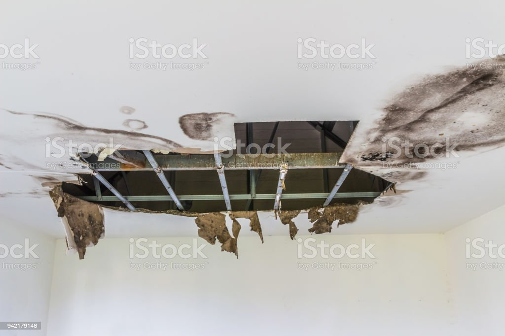 The ceiling broke down stock photo