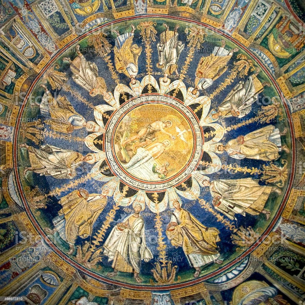 The Ceiling mosaic of The Baptistry of Neon stock photo