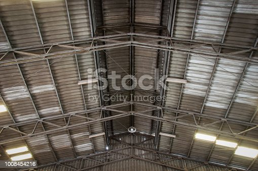 istock The ceiling of old warehouse with sport lights. 1008454216