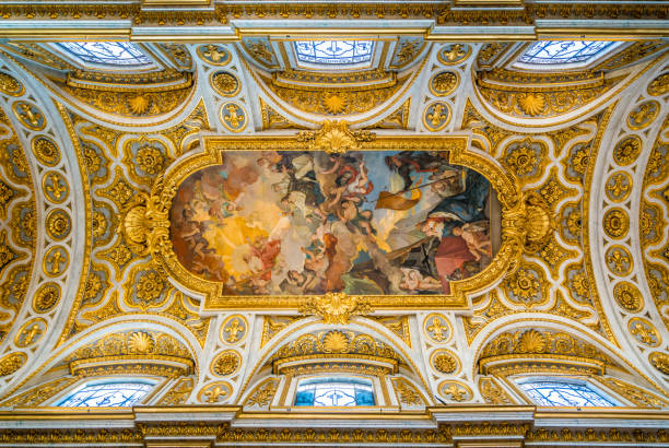 the ceiling of the church of saint louis of the french in rome, italy. - renaissance stock pictures, royalty-free photos & images