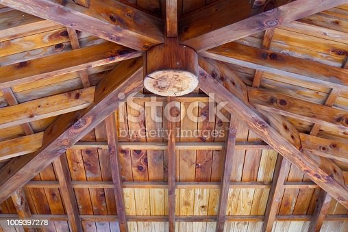 I look up at the wooden ceiling.