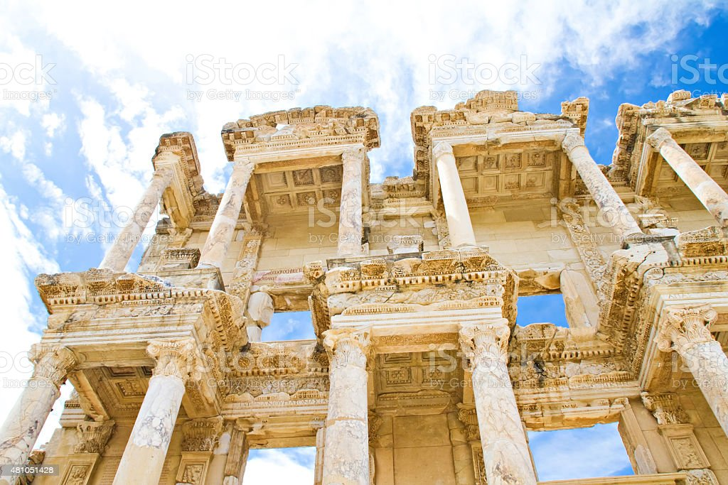 The Celsus library stock photo