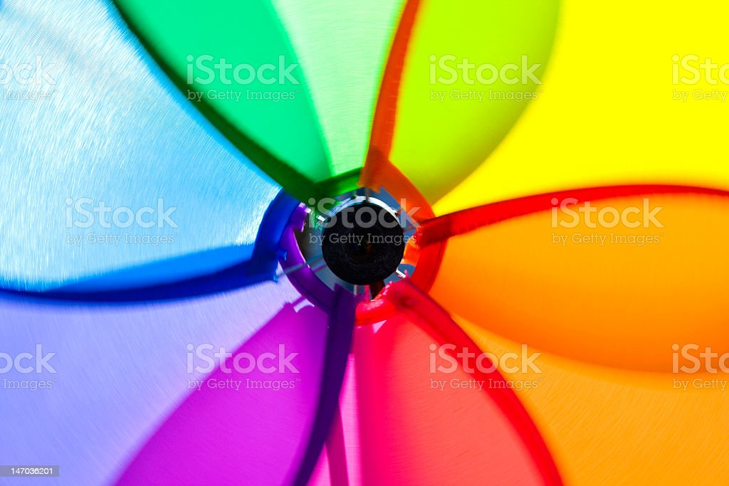 The center of a rainbow-colored fan royalty-free stock photo
