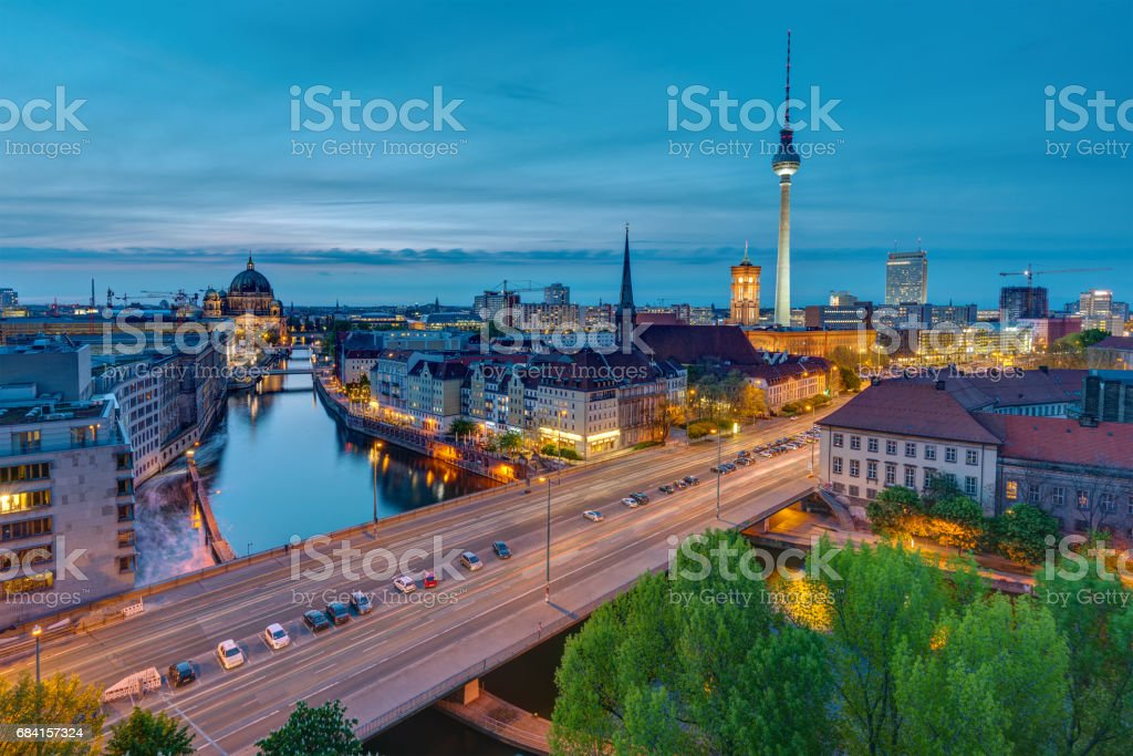 The center of Berlin at dusk royalty-free stock photo