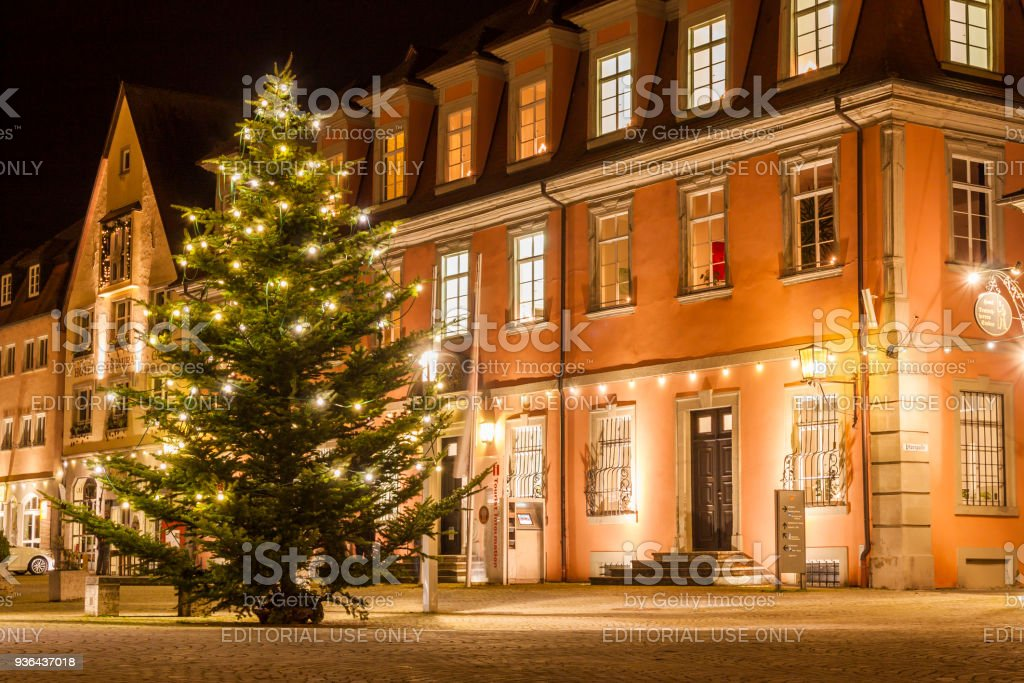 Christmas Town In Germany.The Center Of Old Town Weikersheim Germany Europe At Night