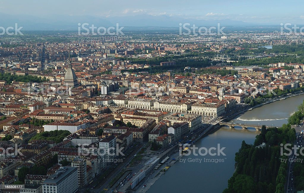 The center of Turin and the river Po, aerial view stock photo