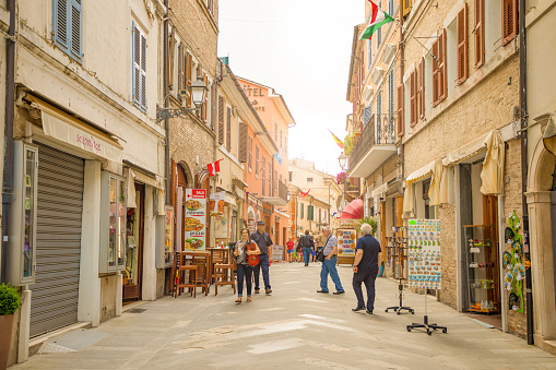The central shopping street Corso Traiano Boccalini leads to Basilica of Santa Casa in Loreto