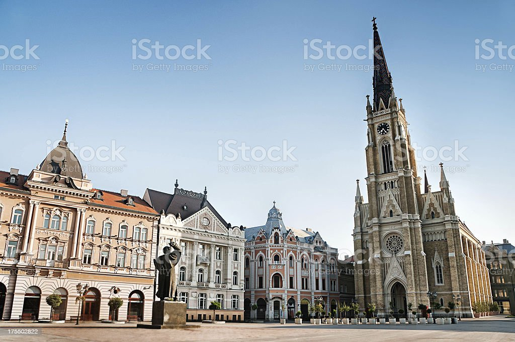 The Central Square in Novi Sad, Serbia stock photo