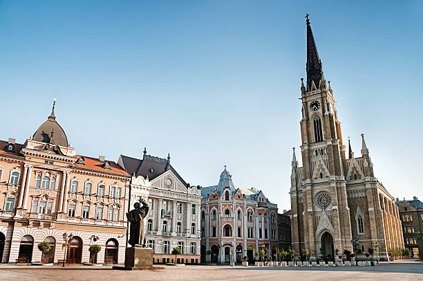 the central square in novi sad, serbia - serbia stock photos and pictures