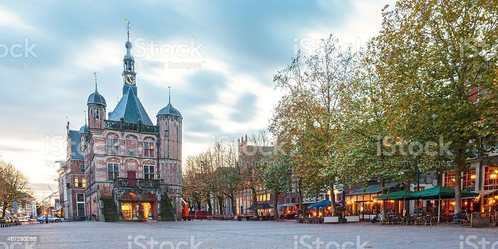 The central square in the Dutch city Deventer stock photo