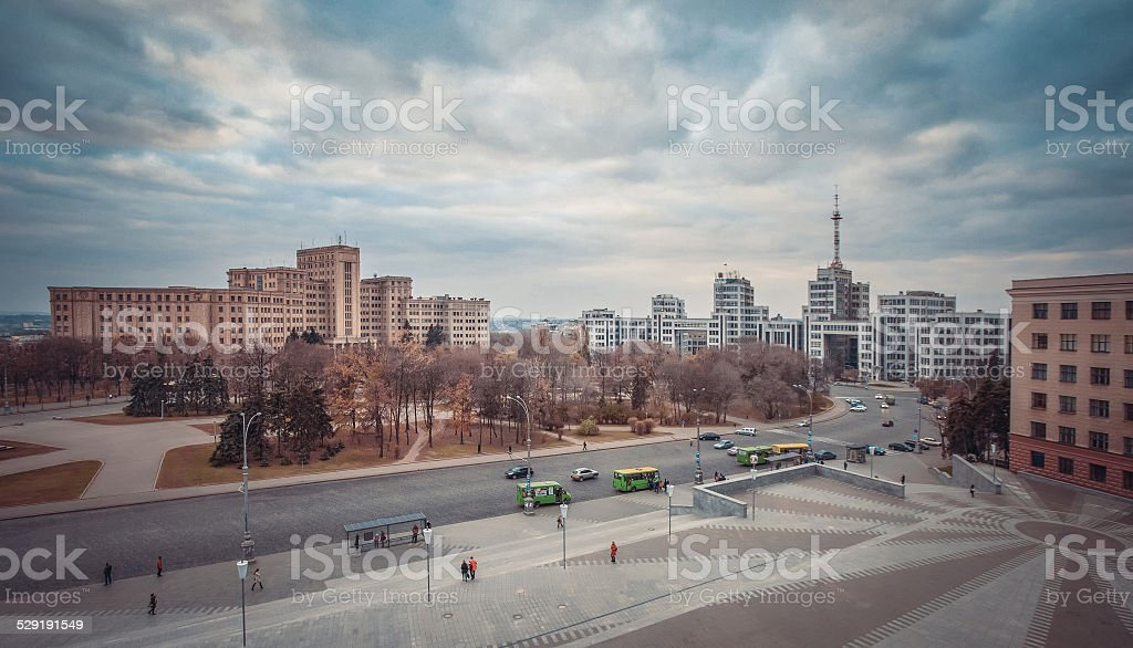 the central square of Kharkov stock photo