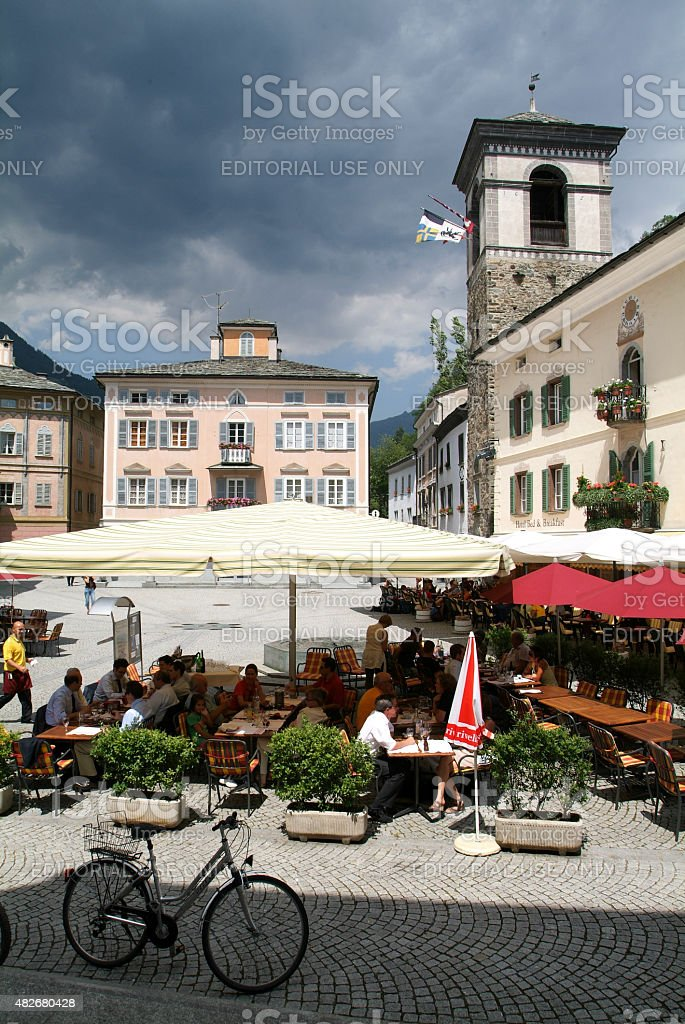 The central square of Poschiavo on the Swiss alps stock photo