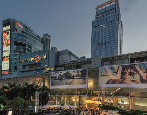 Bangkok, Thailand, August 11, 2017, in front of the Central World Center A large center of Bangkok downtown. The shopping center is located in the district of Ratchadaphisek. Photo taken in the evening.
