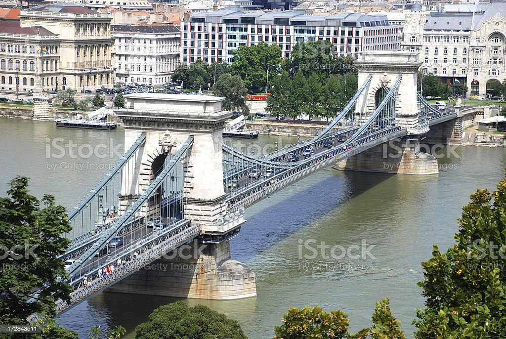 The Chain bridge at Budapest city royalty-free stock photo