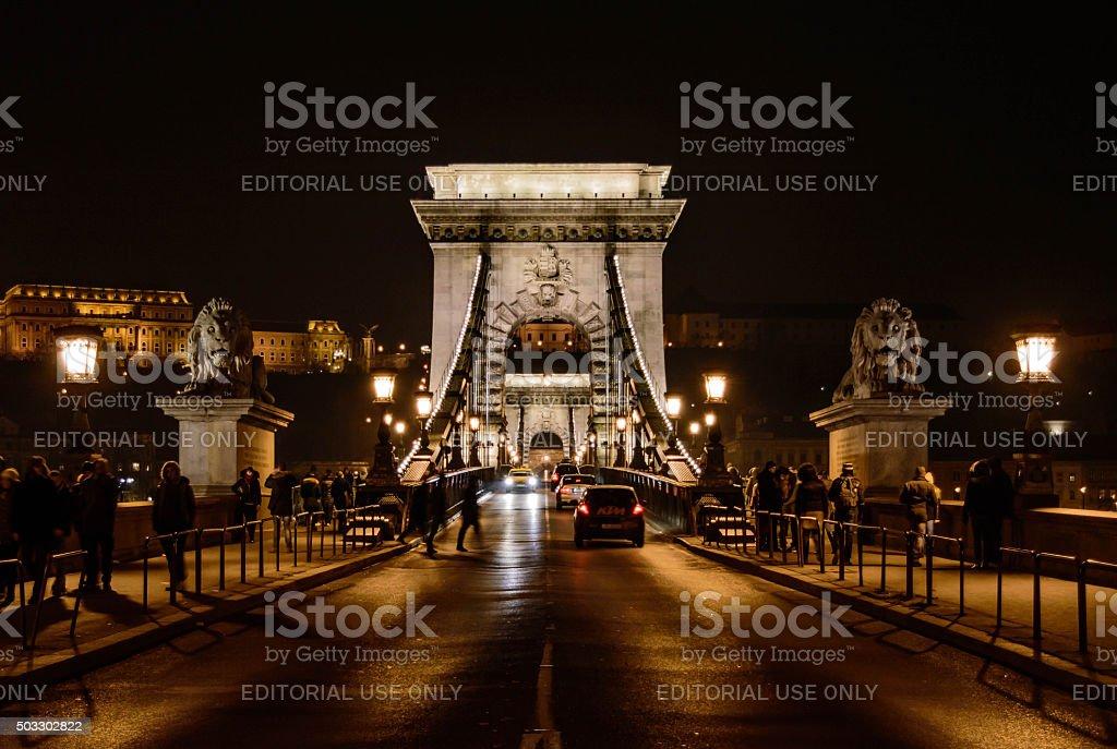 The Chain Bridge at night stock photo