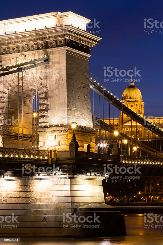 The Chain Bridge in Budapest at dusk stock photo