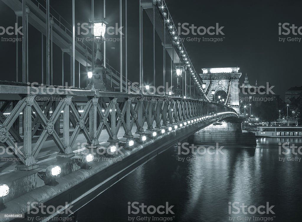 The Chain Bridge in Budapest royalty-free stock photo
