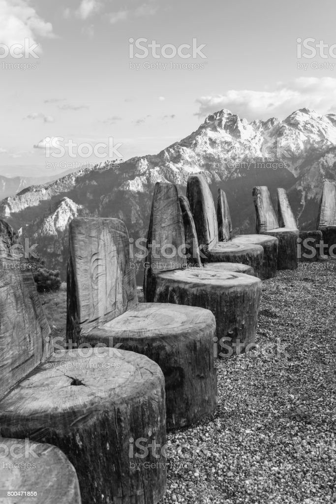 The chairs of the Gods for assembly in the mountains stock photo