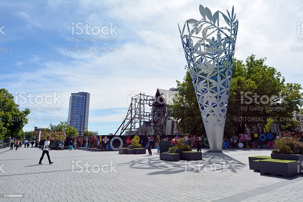 The Chalice in Cathedral square Christchurch - New Zealand stock photo