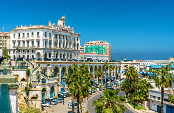 the chamber of commerce, a historic building in algiers, algeria - algeria stock photos and pictures