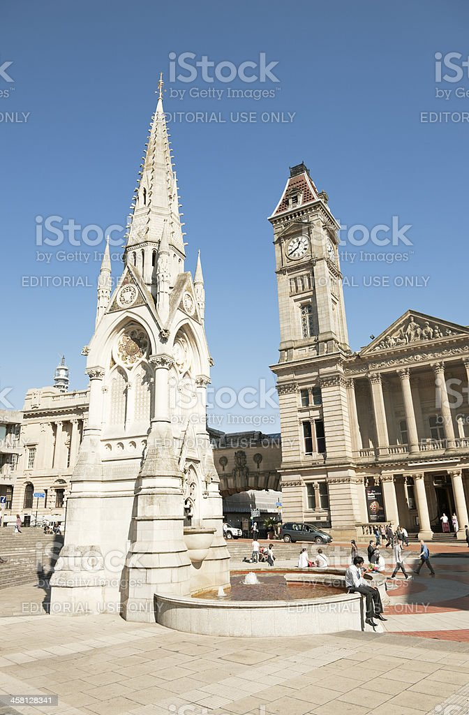 The Chamberlain Memorial with Birmingham Museum and Art Gallery royalty-free stock photo