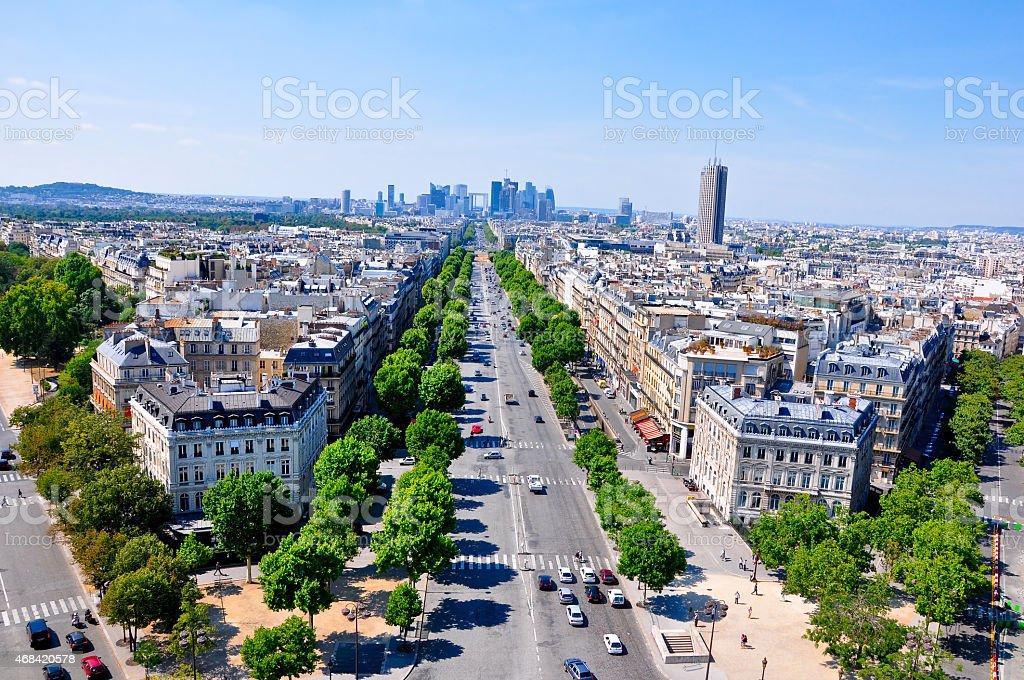 The Champs-Elysées seen from the Arc de Triomphe. stock photo