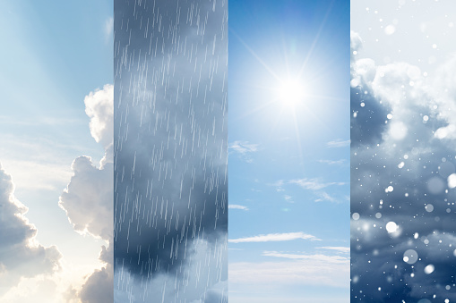 The changes of weather. A natural phenomenon of the differences of four seasons. High quality photo